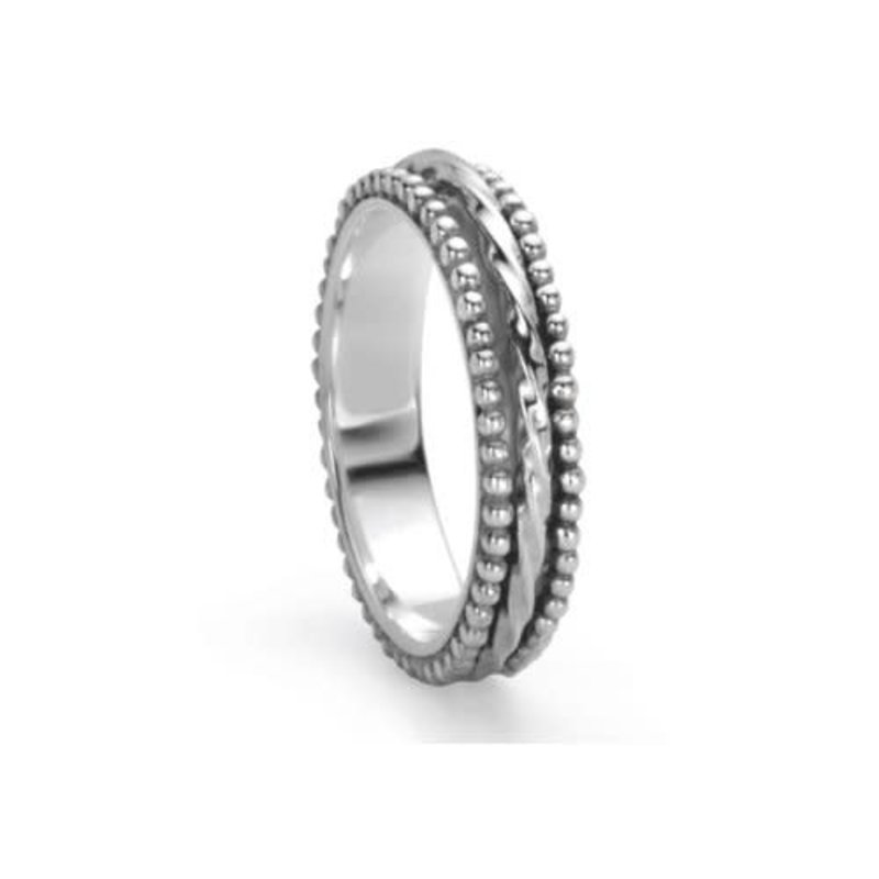 Meditation Ring (Chakra) Sterling Silver with Bubble Design Edges