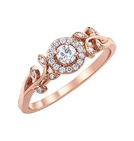I am Canadian 10K Rose Gold (0.25ct) Canadian Diamond Halo Floral Ring