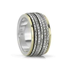 MeditationRings Meditation Ring Cherish Sterling Silver and 10K Yellow Gold CZ Spinning Band