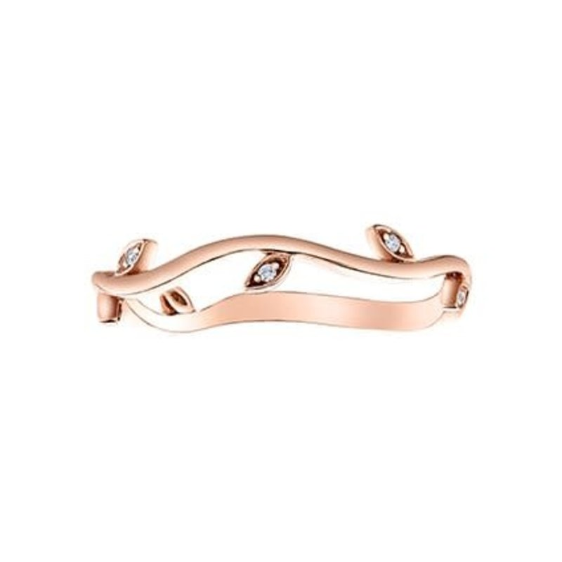 10K Rose Gold (0.07ct) Diamond Stacklable Leaf Band