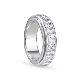 Meditation Spinner Ring (Clarity) Sterling Silver with Cubic Zirconia