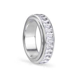 MeditationRings Meditation Ring Clarity Sterling Silver CZ Spinning Ring