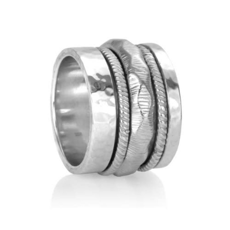 Meditation Spinner Ring (Courage) Sterling Silver with Cubic Zirconia