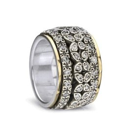 MeditationRings Meditation Ring Destiny Sterling Silver and 10K Yellow Gold Plated CZ Floral Spinning Band