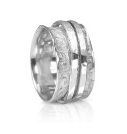 Meditation Spinner Ring (Devi) Sterling Silver with Flower Pattern & 2 Inner Bands