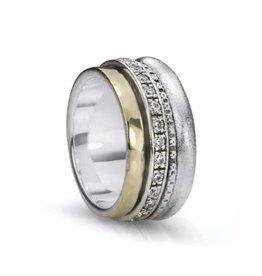 MeditationRings Meditation Ring Enlighten Sterling Silver and 10K Yellow Gold Plated CZ Spinning Ring