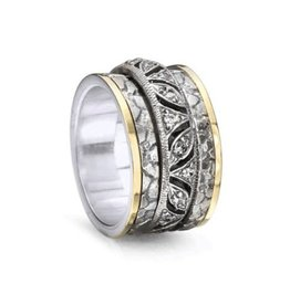 Meditation Spinner Ring (Infinity) Sterling Silver with 9K Yellow Gold and CZ