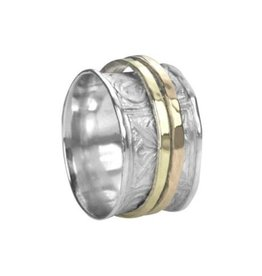 MeditationRings Meditation Ring Felicity Sterling Silver with 9K Yellow and Rose Gold Plated Butterfly Pattern Spinning Band