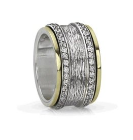 MeditationRings Meditation Ring Grace Sterling Silver and 10K Yellow Gold CZ Spinning Band