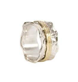 MeditationRings Meditation Ring Heaven Sterling Silver and 9K Yellow Gold Plated Scalloped Edges Spinning Band