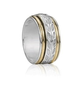 MeditationRings Meditation Ring Joy Sterling Silver and 10K Yellow Gold Plated Leaf Pattern Spinning Band