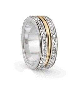 MeditationRings Meditation Ring Inspire Sterling Silver with 10K Yellow Gold Plated CZ Spinning Band