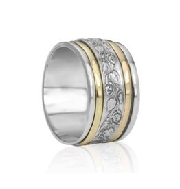 MeditationRings Meditation Ring Harmony Sterling Silver with 9K  Yellow and Rose Gold Plated Floral Pattern Spinning Band