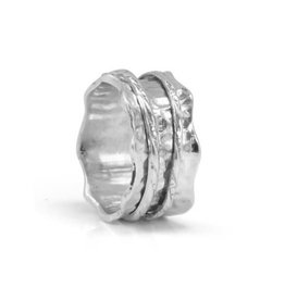 MeditationRings Meditation Spinner Ring (Sea) Sterling Silver with Scalloped Edges