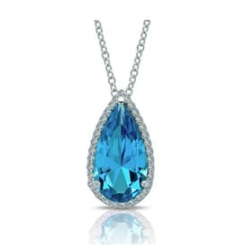 Lafonn Lafonn Classic Pear-Shaped Halo Simulated Blue tourmaline Necklace