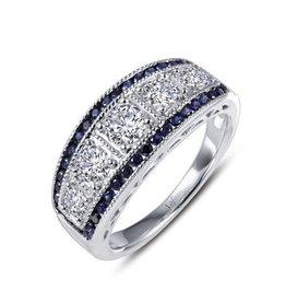 Lafonn Lafonn Sterling Silver Platinum Plated Simulated Diamonds Lab Grown Sapphires Vintage Inspired Half Eternity Band