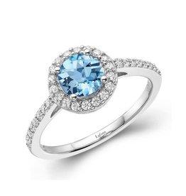 Lafonn Lafonn Sterling Silver Platinum Plated Simulated Diamonds Genuine Blue Topaz Halo Ring