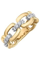 10K Yellow and White Gold (0.50ct) Diamond Link Design Fancy Ring