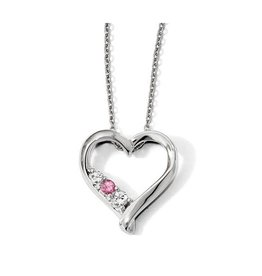 Sterling Silver Heart Necklace with Pink & White Swarovoski Topaz