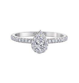 Maple Leaf Diamonds 14K White Gold Maple Leaf (0.45ct) Pear Shaped Canadian Diamond Halo Engagement Ring