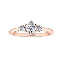 Maple Leaf Diamonds 14K Rose Gold (0.65ct) Three Stone Canadian Maple Leaf Diamond Ring