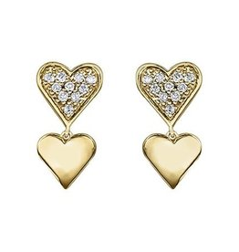 Yellow Gold Dangle Double Hearts Diamond Earrings