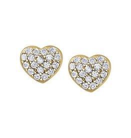 10K Yellow Gold (0.18ct) Pavee Set Diamond Heart Earrings