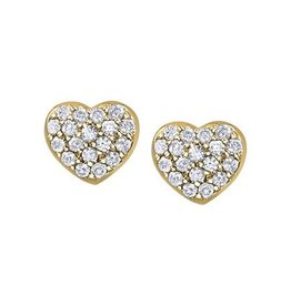 Yellow Gold Pavee Set Diamond Heart Earrings