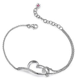Elle Elle Sterling Silver Amour Collection Heart CZ Bracelet