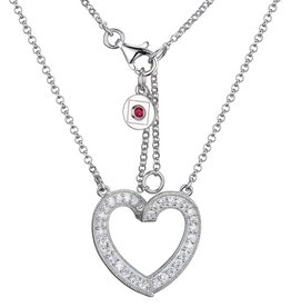 Elle Elle Sterling Silver Emotion Collection Heart CZ Necklace