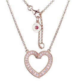 Elle Elle Emotion Sterling Silver Rose Tone Pink CZ Heart Necklace