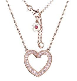 Elle Elle Sterling Silver Rose Tone Emotion Collection Heart Pink CZ Necklace