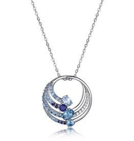 Elle Elle Silver Island Life Collection with Multi Colour CZ Necklace