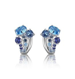 Elle Elle Silver Island Life Collection with Multi Colour CZ Earrings