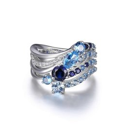 Elle Elle Island Life Sterling Silver Rhodium Plated Blue Corundum and Spinel Ocean CZ Ring