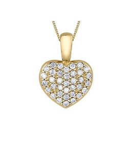 10K Yellow Gold Pavee Set (0.18ct) Diamond Heart Pendant