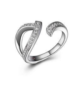 Elle Elle Scintillation Sterling Silver Rhodium Plated CZ Open Ring