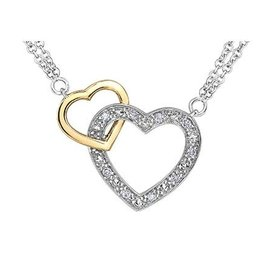 Sterling Silver and 10K Yellow Gold (0.05ct) Diamond Double Heart Necklace