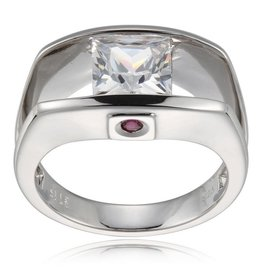 Elle Elle Sterling Silver Rhodium Plated Princess Cut CZ Solitaire Ring