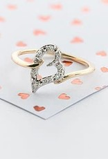 10K Yellow Gold (0.08ct) Diamond Heart Promise Ring
