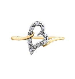 Yellow & White Gold Diamond Heart Ring