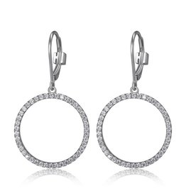 Elle Elle Silver Rodeo Drive Collection Circle CZ Earrings