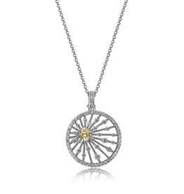 Elle Elle Starburst Sterling Silver Rhodium Plated CZ Fancy Circle Necklace