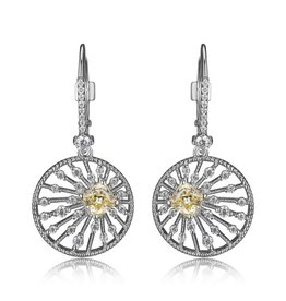 Elle Elle Silver Starburst Collection Circle CZ Lever Back Earrings