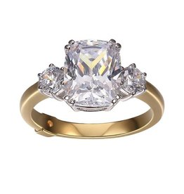 Elle Elle Royal Sterling Silver Rhodium and Gold Plated CZ Emerald Cushion Cut and Round Trinity Ring