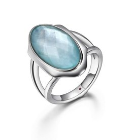 Elle Elle Silver Glacier with Round White and Blue Mother of Pearl Ring