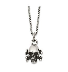 Stainless Steel Antiqued Polished Skull And Cross Bones Necklace