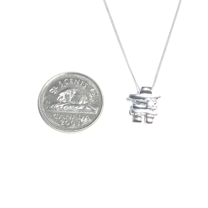 10K White Gold Inukshuk  (0.03ct - 0.50ct) Canadian Diamond Pendant