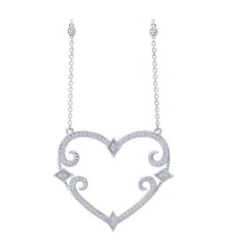 Lafonn Lafonn Classic Pavee Heart Necklace Simulated Diamond and Sterling Silver