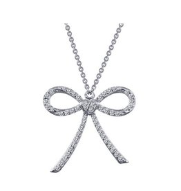 Lafonn Lafonn Classic Pavee Bow Necklace Simulated Diamond and Sterling Silver